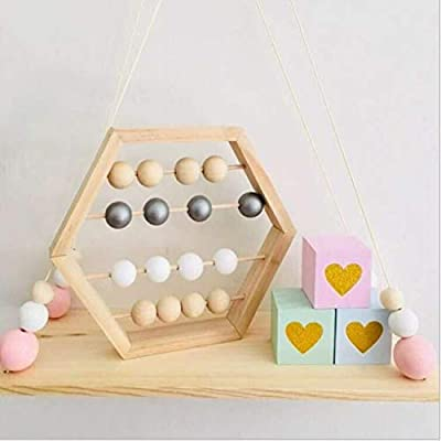 LPER Puzzles Toys for Kids, Puzzle Toy Natural Wooden Abacus Beads Craft Baby Early Learning Educational Toys Baby Room Decor(Wood White Silver) (Color : Wood White Silver): Electronics