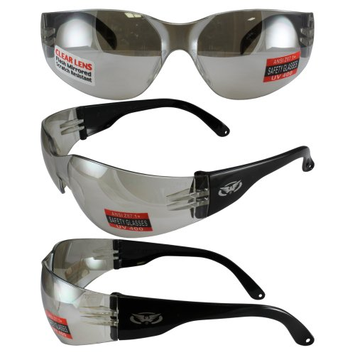 Global Vision Rider Safety Glasses w/Clear MIRROR Lenses (Cglasses)