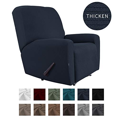 Easy-Going Thickened Recliner Stretch Slipcover, Sofa Cover, Furniture Protector with Elastic Bottom, 4 Pieces Couch Shield, Sturdy Fabric Slipcover, for Pets,Kids,Children,Dog (Recliner,Navy)