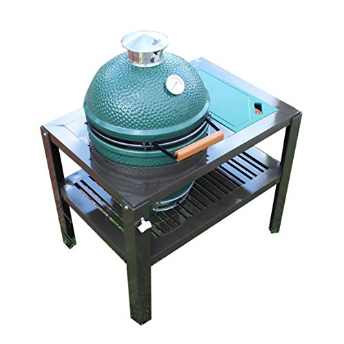 SmokeWare Table for a Large Big Green Egg - Bronze with Glider Feet (Cutting Board Color, Green)