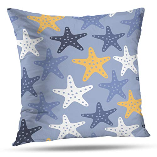 Geericy Sea Star Beach Throw Pillow Covers, STYL zed Pat n S mple Underwa L fe d Backg s of D fferent s Mar ne Sur Des gn Wh te Palette Cushion Cover 18X18 Inch for Bedroom Sofa -