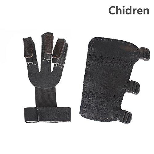 Krayney Adult Youth Leather 3-Strap Arm Guard & Gloves Pr...