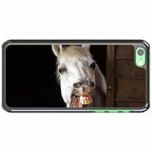 iPhone 5C Black Hardshell Case horse smile teeth jaw mane Desin Images Protector Back Cover