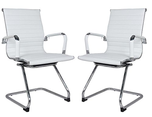 Classic Eames Replica visitors chair in WHITE PU leather. Chrome arms with protective arm sleeves with zip available. Sold in a box of TWO chairs with FREE shipping. SAVE 18% buying 2.