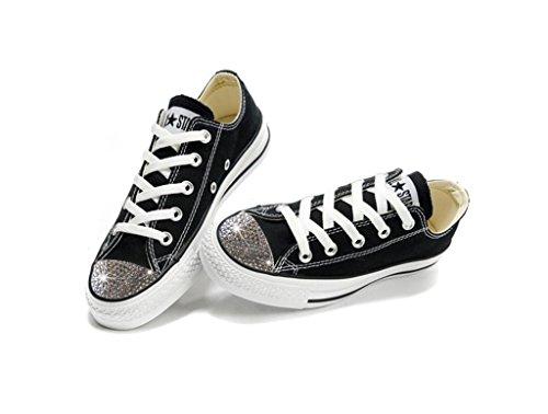Converse Swarovski Shoes - Swarovski Xirius-Rose Cut Rhinestone Crystals (9.5, Black White) -