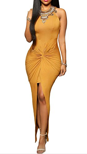 Elady Sexy Women Maxi Dress Slit Clubwear Night Party Bodycon Yellow (L)