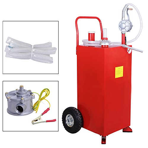 SUNCOO 30 Gallon Portable Gas Tank Diesel Fuel Caddy Storage Containers Pump & Hose Tube, Red by SUNCOO (Image #1)