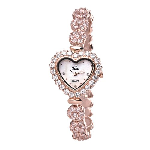 (Ladies Luxury Crystal Bracelet Designer Wrist Watch Valentines Heart Dial Rose Gold Tone Reloj de Mujer)