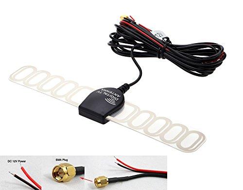 Eximtrade Car Analog Digital TV DVBT ATSC ISDB Radio FM Antenna Signal Amplifier for Car DVD Stereo (SMA) (Analog Tv Antenna For Car Stereo)