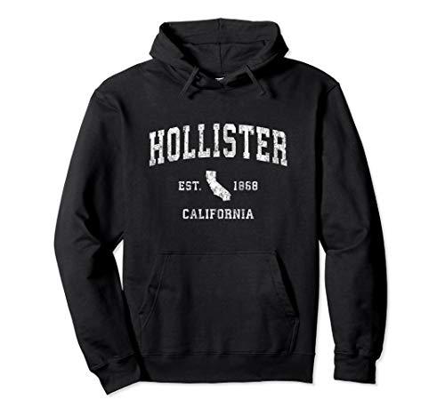 Hollister California CA Vintage Athletic Sports Design Pullover Hoodie from Hollister CA Retro T-Shirts & Gifts