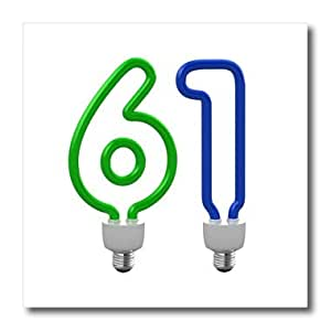 ht_165709_1 Carsten Reisinger - Numbers - Number Sixty One as an energy saving, colored light bulb - Iron on Heat Transfers - 8x8 Iron on Heat Transfer for White Material