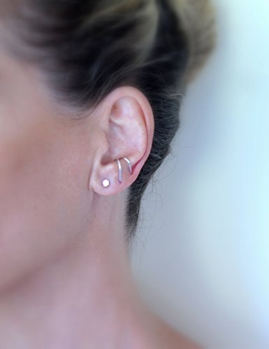 SINGLE Handmade Thin Sterling Silver Suspender earring