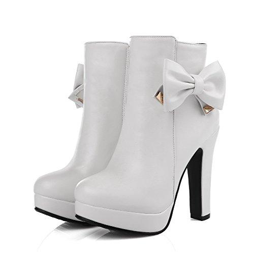 Boots Low Material Womens Zipper Round Soft AllhqFashion White High Toe Heels Top Closed qPn4fRRx1