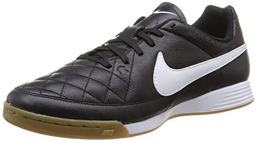 Nike Men's Tiempo Genio Leather IC Black/White Indoor Soccer Shoe 9.5 Men US