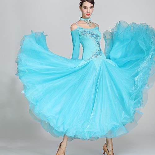 Ballroom Blue Concorso Donne Ballo Standard Abiti Teatrali Costumi Modern Spalline Senza Wqwlf Waltz S Prestazione s Tuta Da 7xawqpCp8