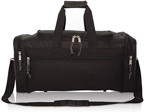 """DALIX 21"""" Blank Sports Duffle Bag Gym Bag Travel Duffel Adjustable Strap in Black"""