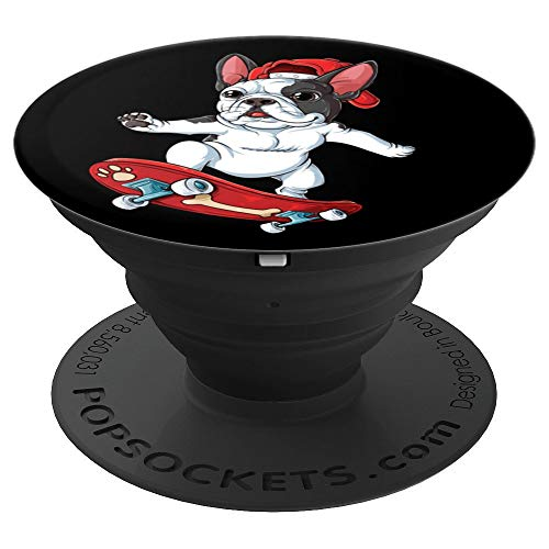 Cool Dog French Bulldog Skateboard Skateboarding Black Gift - PopSockets Grip and Stand for Phones and Tablets ()