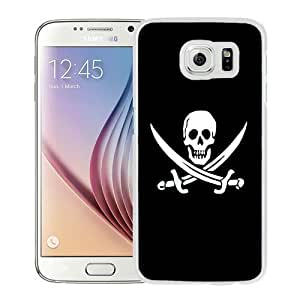 NEW Unique Custom Designed Samsung Galaxy S6 Phone Case With Jolly Roger Pirate Skull Black And White_White Phone Case
