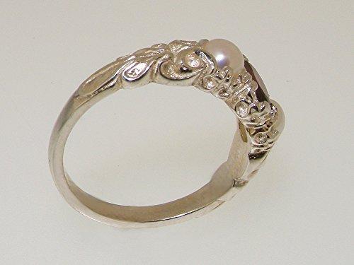 Haute Qualité Bague pour Femme en Or blanc 750/1000 (18 carats) sertie de Grenat et Perle - Tailles 47 à 68 disponibles