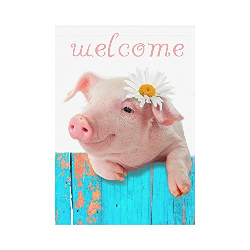 InterestPrint Funny Piglet with Flower Polyester Garden Flag Outdoor Banner 28 x 40 inch, Cute Piggy Pig Welcome Decorative Large House Flags for Party Yard Home Decor