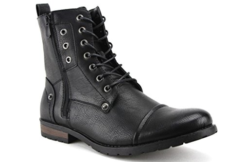 Bonafini Men's D-703 Tall Goth Punk Biker Zippered Boots, Black, 7.5