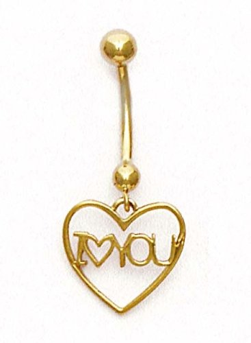 14k Yellow Gold I Love You Belly Ring