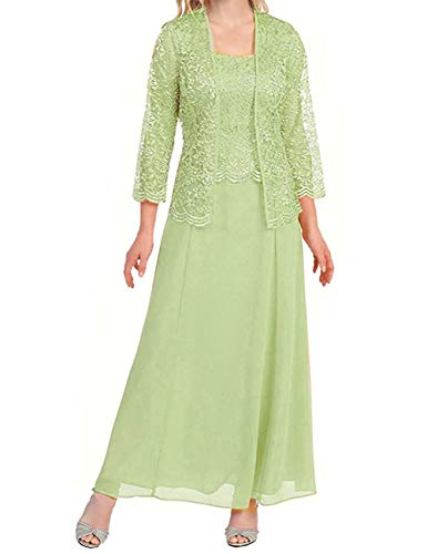H.S.D Womens Lace Mother of The Bride Dress Formal Gowns with Bolero Sage Green