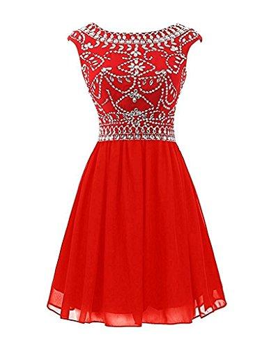 Partykleider Tanzenkleider Cocktailkleider Rot Abendkleider Chiffon mia Festlichkleider Kurzes Mini Braut La Damen Weiss 64wP7q8