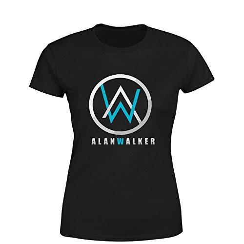 76a1c45b Edgy Alan Walker Logo Women Cotton Ribbed Crewneck Short Sleeve T-Shirt  Black xs