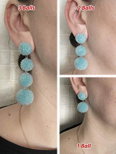Bon Bon Earrings  agate  silk earrings Black color silk and agate beads Ball drop earrings,Earrings three balls