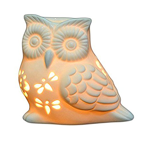 Ivenf Owl Shape Ceramic Tea Light Holder/Wax Melt Warmer, Aromatherapy Essential Oil Burner, Great Decoration for Living Room, Balcony, Patio, Porch & Garden