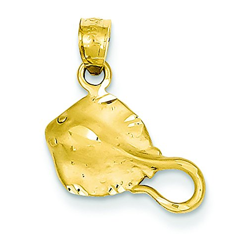 Pendants Beach and Sea Life Charms 14K Yellow Gold Stingray Charm Pendant ()