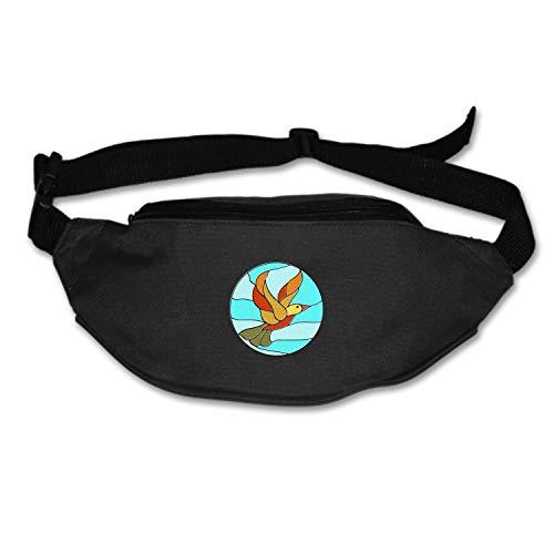 Ducks Stained Glass - KATONGHUJHJH Unisex Bird Circles Duck Stained Glass Fanny Pack Waist/Bum Bag Adjustable Belt Bags Running Cycling Fishing Sport Waist Bags Black