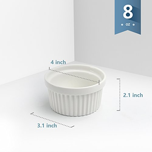 Sweese 5105 Porcelain Souffle Dishes, Ramekins - 8 Ounce for Souffle, Creme Brulee and Ice Cream - Set of 6, White by Sweese (Image #3)