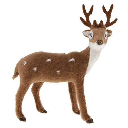 (Prettyia Simulation Standing Deer Reindeer Elk Doll Home Decor Dark Brown)