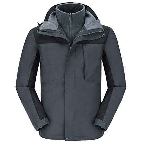 CAMELSPORTS Men's Mountain Ski Jacket 3 in 1 Waterproof Winter Jacket Warm Snow Jacket Hooded Rain Coat Windproof Winter Coat Dark Gray