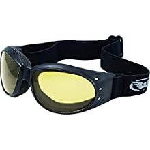 Global Vision Eliminator Red Baron Motorcycle Aviator Goggles Black Padded Frame Yellow Lens