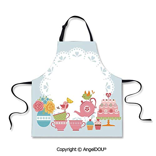 SCOXIXI Adult Kitchen Dinner Party Cooking Apron Two Birds Enjoying Tea and Various Sweets Pale Colored Image Bouquet of Flowers Decorative Home Cooking BBQ Apron Cleaning Accessory.