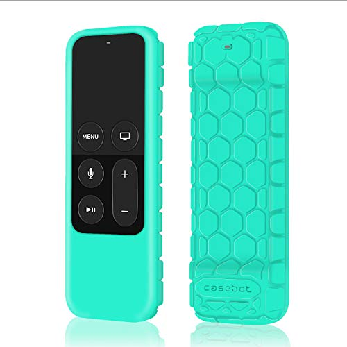 Fintie Protective Case for Apple TV 4K 5th, 4th Gen Remote - Casebot (Honey Comb Series) Lightweight (Anti Slip) Shock Proof Silicone Cover for Apple TV Siri Remote Controller, Mint Green