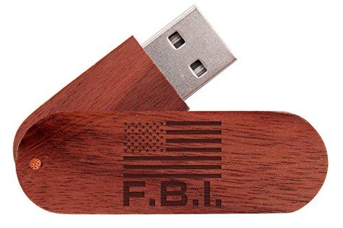 - 16GB USB Flash Drive Mahogany NDZ Us Flag Federal Bureau of Investigations FBI