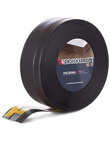 HOLZBRINK Rodapiés flexible autoadhesivo Negro Rodapiés flexible 50x20 mm, 10 m Zócalo Autoadhesivo