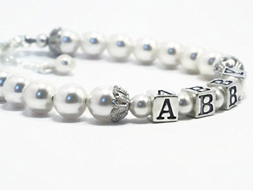 Personalized Baby Name Pearl Bracelet Sterling Silver Baptism Christening