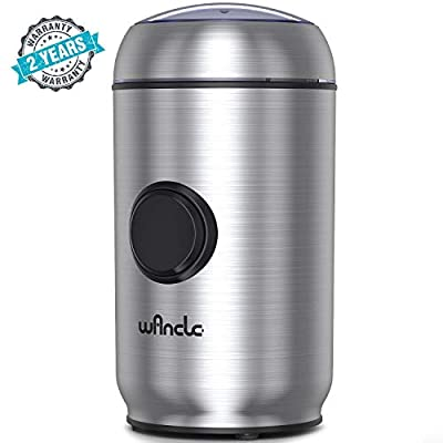 WANCLE Coffee Electric One-Touch Pepper Grinder for Salt,Spice,Herb,Nuts with Smart Overheat Protection and Lid Safety Lock,Brushed Stainless Steel Housing Cleaner