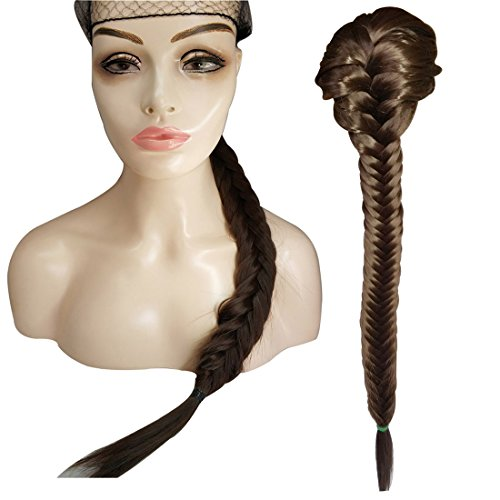 Beauty Ponytail Clip Braided Wigs Long Heat Resistant Synthetic Fishtail Hair Rope Chignon Drawstring Plait Ponytail Hair Piece 20 inches ( Color 4 #)