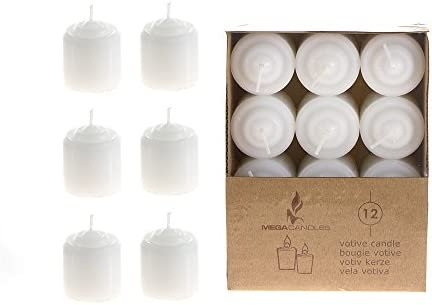 White Unscented Mini Glass Container Candles Set of 12 Mega Candles