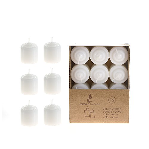 Mega Candles - Unscented 8 Hours Votive Candles - White, Set of 12