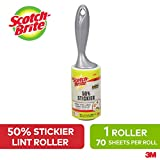 Scotch-Brite Lint Roller, 50 Percent Stickier, 1 Roller with 70 Sheets, Refillable Lint Brush