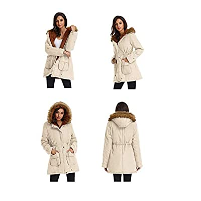 GRACE KARIN Womens Hooded Warm Winter Thicken Fleece Lined Parkas Long Coats: Clothing
