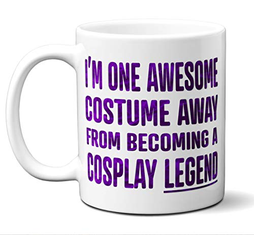 Funny Cosplay Gift Coffee Mug, Cup. One Awesome Costume Away (Purple). Women Men Him Her Birthday Christmas Cosplayer, Wig Costume Women Men Rin Sao Yuri Rwby Miku Yuno Anime Lovers Fans. ()