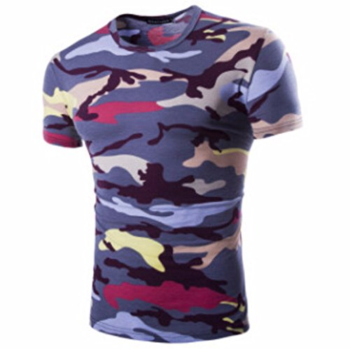 Men's Camouflage Military US Army Tactical O Neck Tee Shirt purple / XL